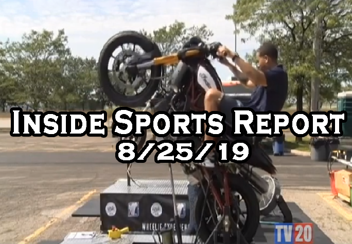 "Man on a motorcycle with text that reads ""Inside Sports Report 8/25/19"""